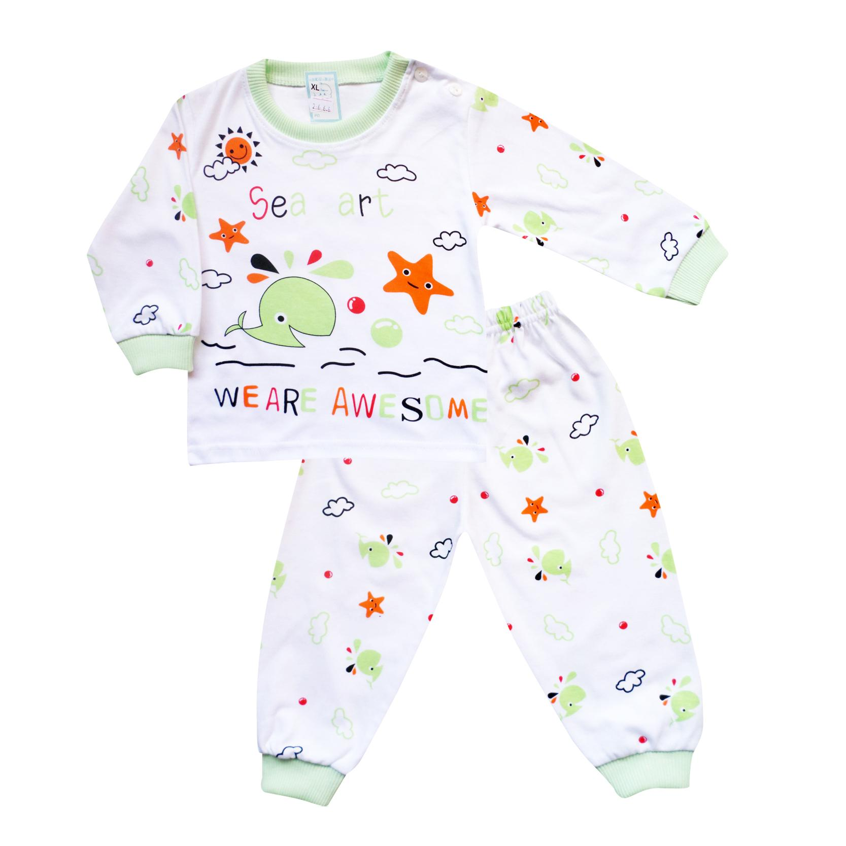 Skabe Baby Putih Piyama Anak Setelan Baju Tidur Tangan Panjang Anak Bayi Laki Laki 2666