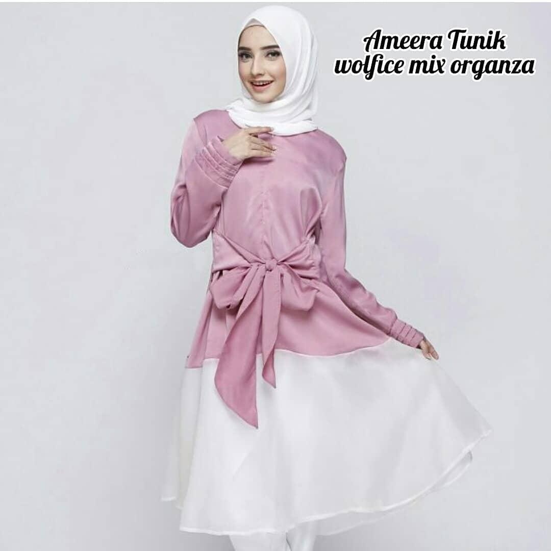 Baju Original Ameera Tunik Muslim Wolfice mix Organza Muslim Casual Pakaian Muslim Wanita Muslim Modern Terbaru Termurah 2018