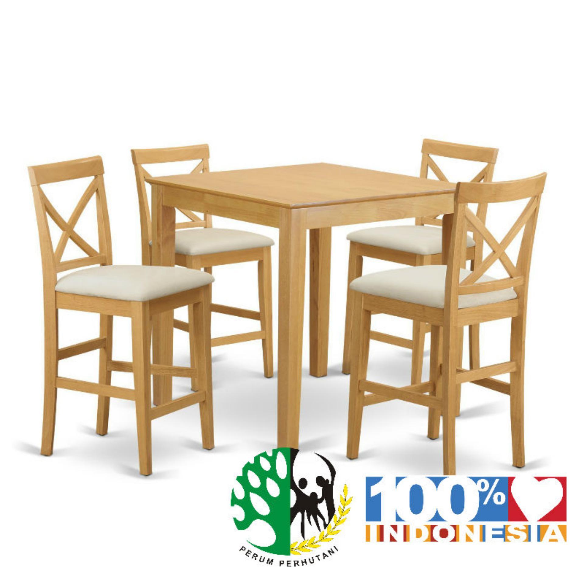 Meja Bar CAFE JATI 4 Kursi Natural Furniture