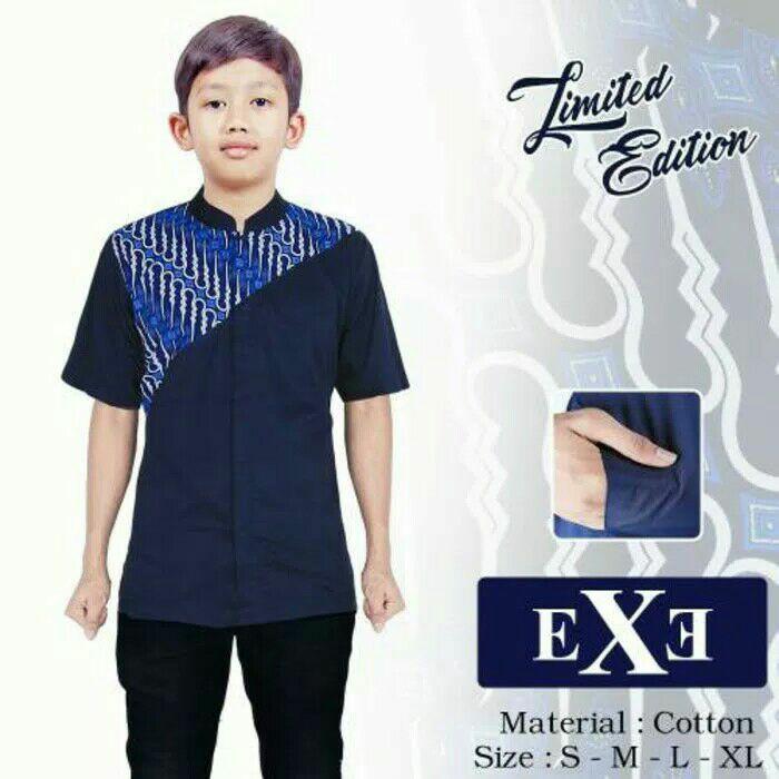 Kemeja / Baju Koko Muslim anak - Biru Dongker Kombinasi Batik - Navy