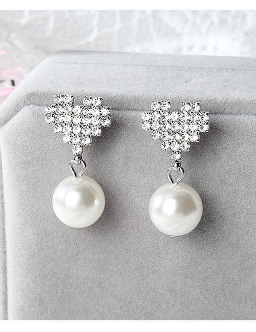 LRC Anting Tusuk Fashion Heart Shape Decorated Earrings