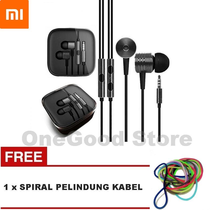Xiaomi Piston 2 Headset Earphone Handsfree Piston + FREE Spiral Pelindung Kabel - BLACK