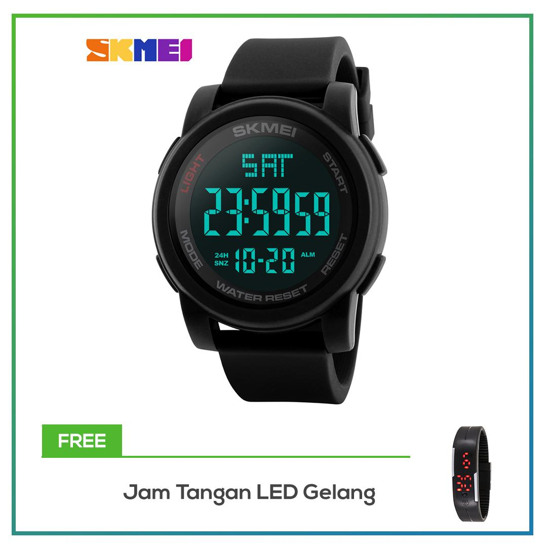 SKMEI 1257 Jam Tangan Pria LED Digital Watch Men Wrist Watch Black Alarm Waterproof 50M - Black + F