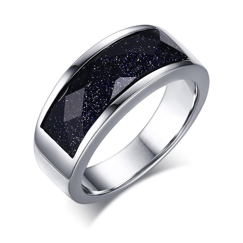 VNOX Stainless Steel Batu Pasir Biru Laporan Cincin untuk Women Wedding Band Pertunangan Janji