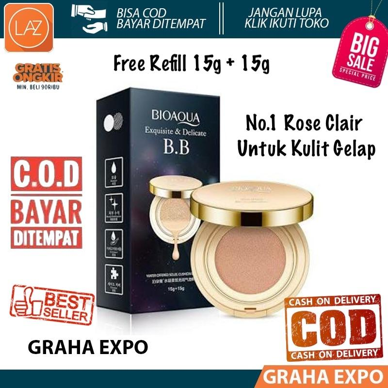 Bioaqua Bedak Cair Exquisite Anf Delicated BB Cushion Cream Gold Water Ofered Soleil Bedak Cushion SPF 50++ Original Foundation Make Up Wajah + Refill 15g +15g Powder Warna Rose Clair Atau Warna Paling Gelap Laz COD Graha Expo