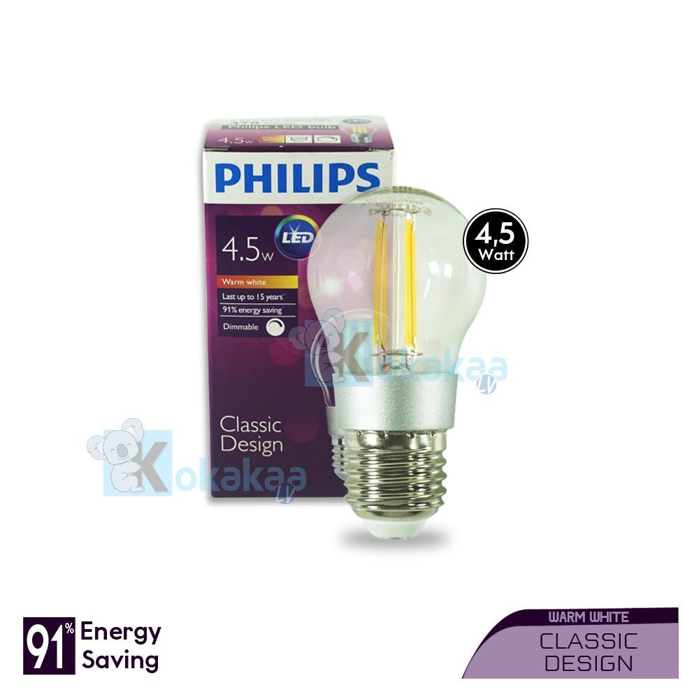 Philips Lampu LED Kecil 4.5 Watt E27 Dimmable Classic Design Hemat Energi Lampu Bohlam Cahaya Kuning