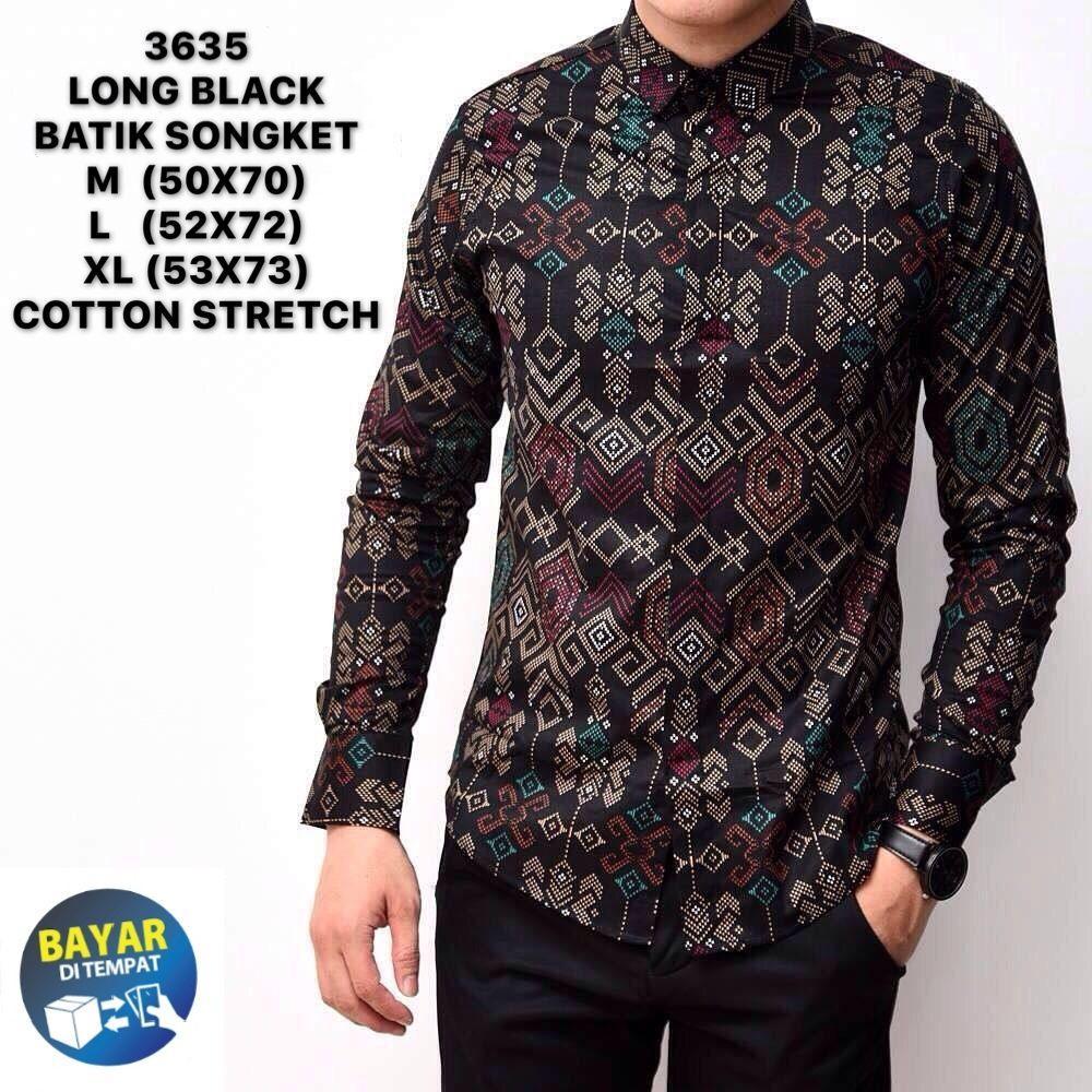 Kemeja batik songket pria murah/kemeja pria batik songket lengan panjang/Baju kerja cowok slimfit lengan panjang