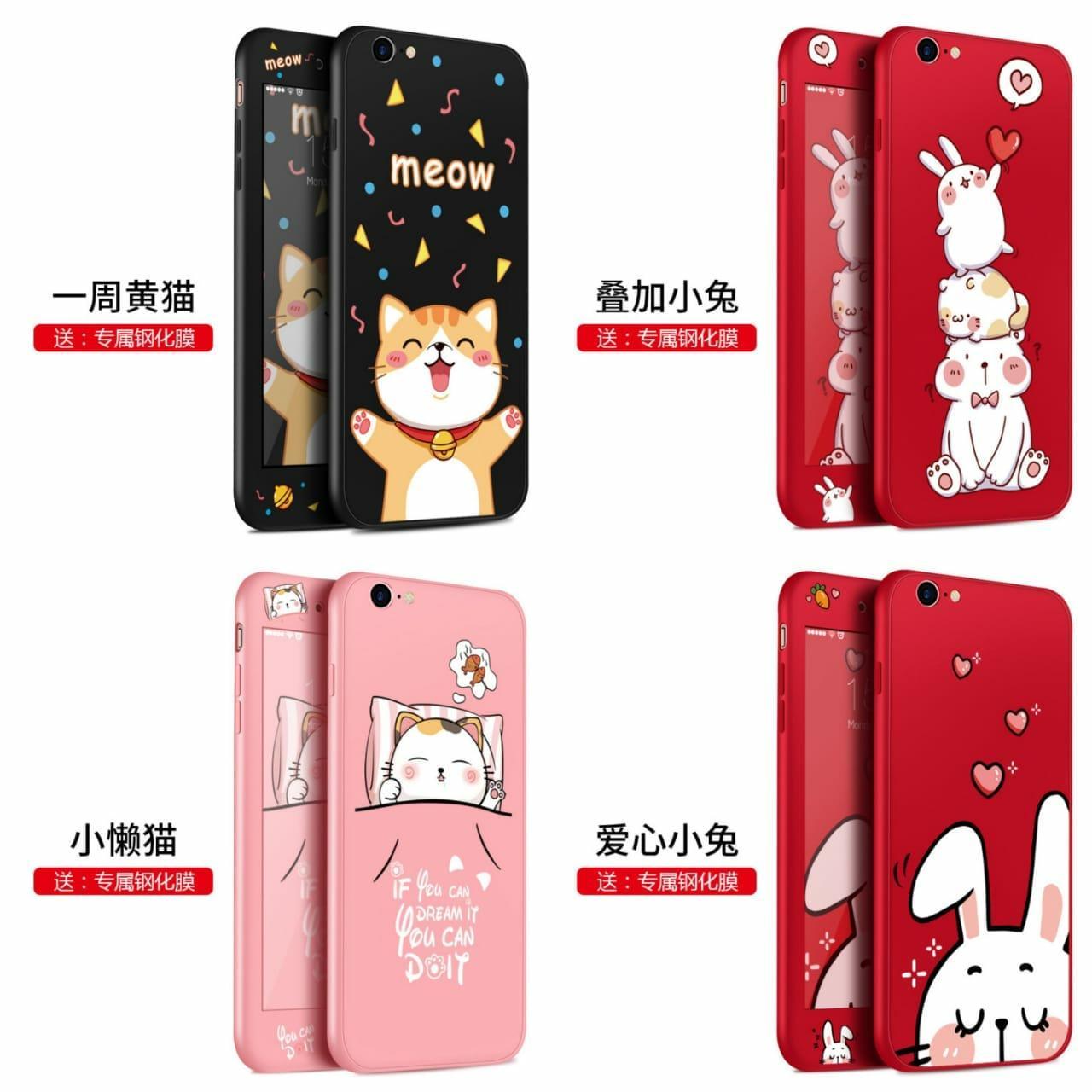 Case A71 / Case 360 A71 / Hardcase Oppo A71 / Case/Hardcase 360 Radish Bunny Plus Glass For Oppo A71_2509