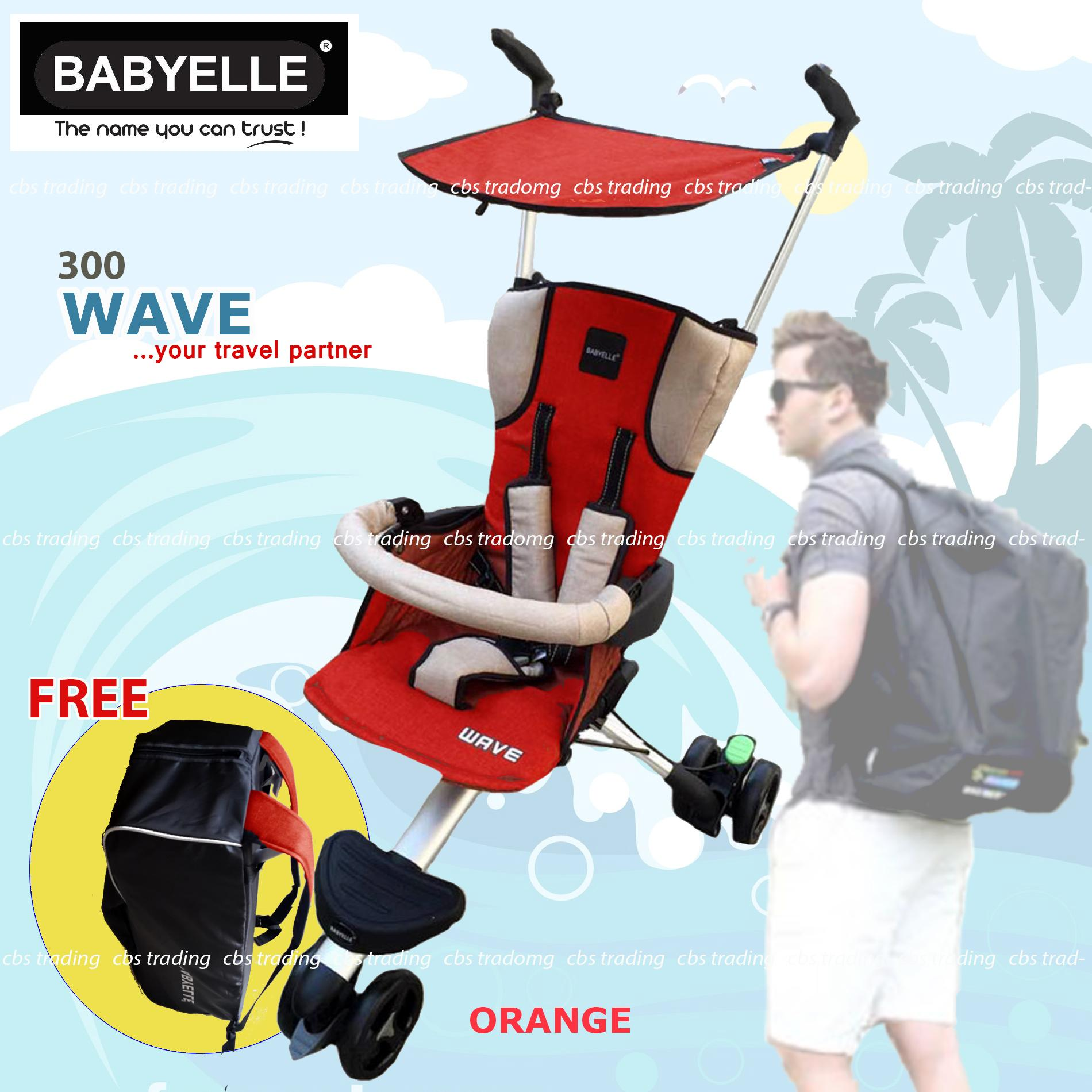 Babyelle Travelling Stroller NEW Wave With Bag - Kereta Dorong Bayi Buggy - Orange
