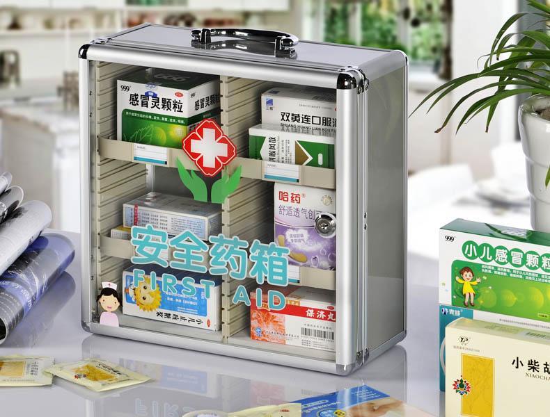 Gantungan Dinding rumah tangga banyak lapis Pertolongan Darurat Kotak Obat pabrik rumah sakit sekolah unit Obat-Obatan Kontainer Ada Kunci Paduan alumunium