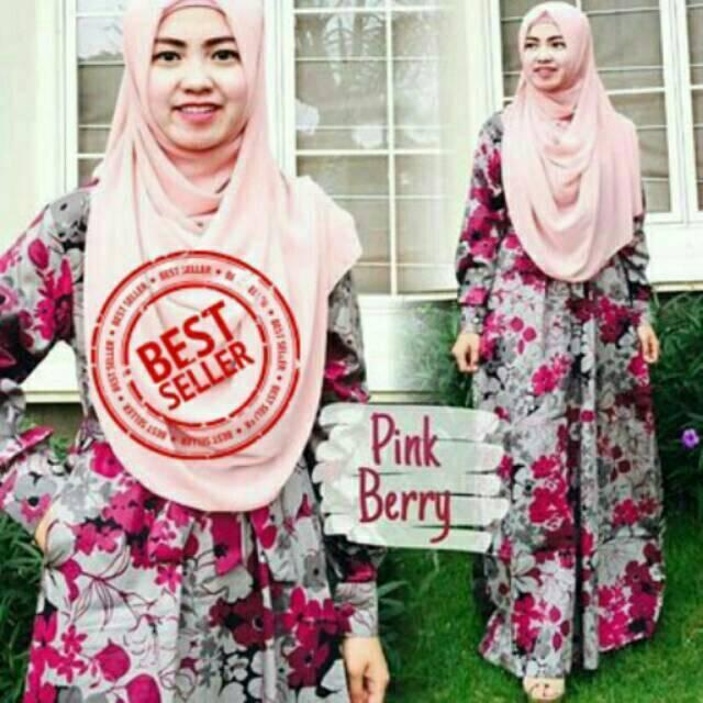 Gamis katun jepang ORIGINAL Gamis magda pink berry lyra virna busana muslim tanah abang syari motif Size xL bluberry