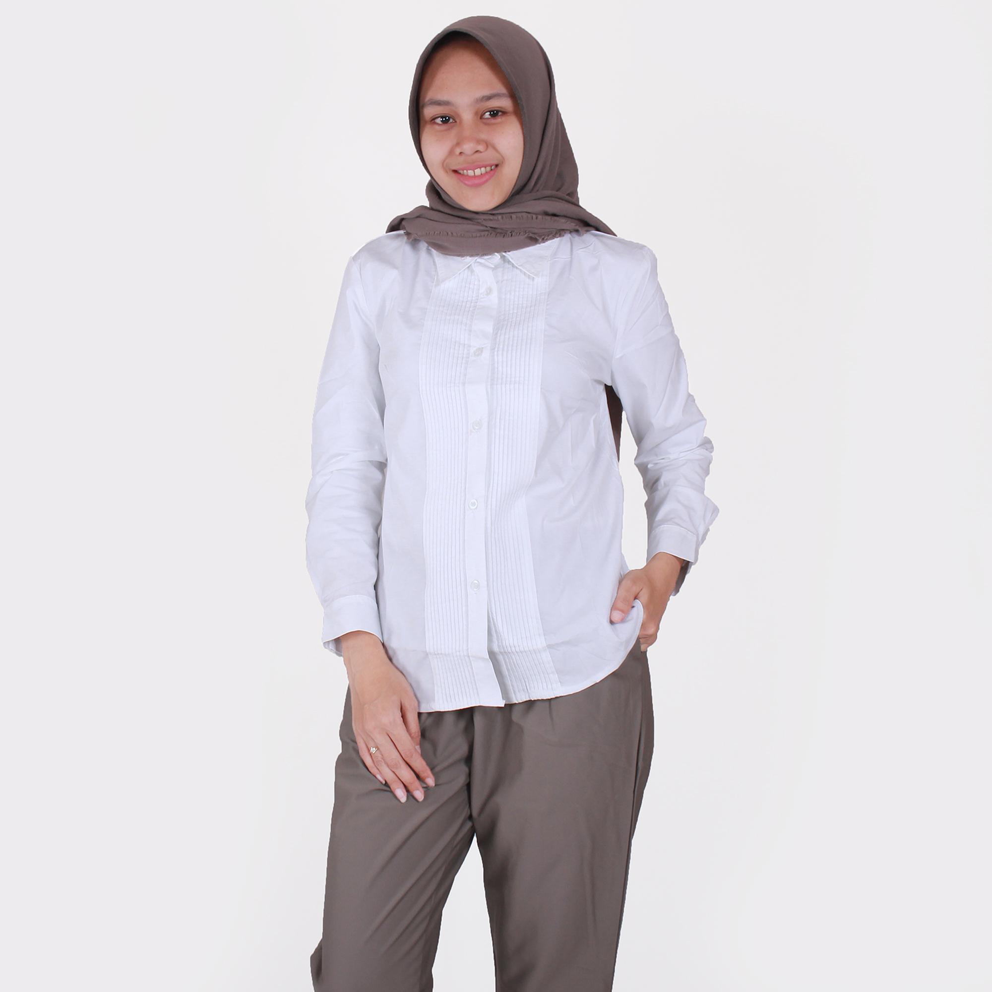 HaymeeStore Kemeja Putih Polos Wanita Baju Kantor Cewek Formal Atasan Kerja  cewe Variasi Rempel 87c20c1884