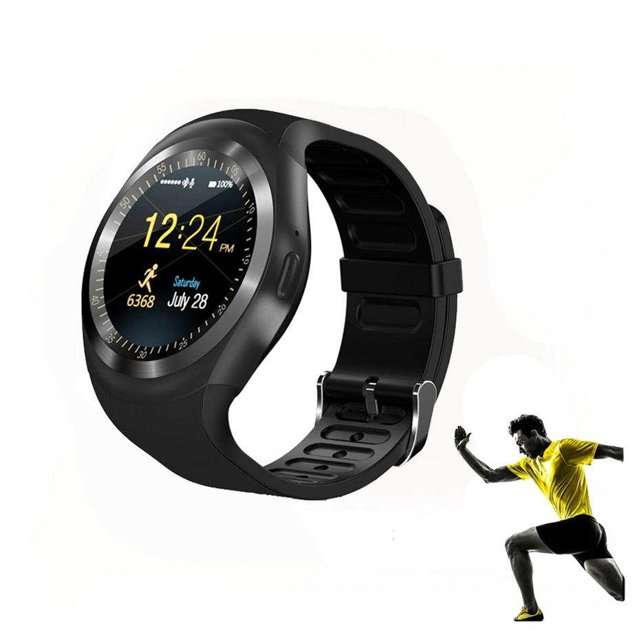 Android Smart Watch Y1 Plus Smartwatch Phone Sport Fitness Bluetooth Pedometer Tracker Waterproof SIM TF for Android - Black