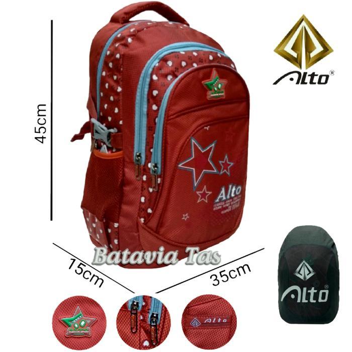 Alto Tas Ransel Backpack Batavia Trilogy Series Sekolah / Kuliah + Waterproof Raincover