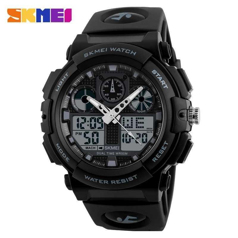 Jam Tangan Pria bisa dipakai renang Doubletime SKMEI Original Date Alarm Digital Analog - AD1270 Variasi Hitam