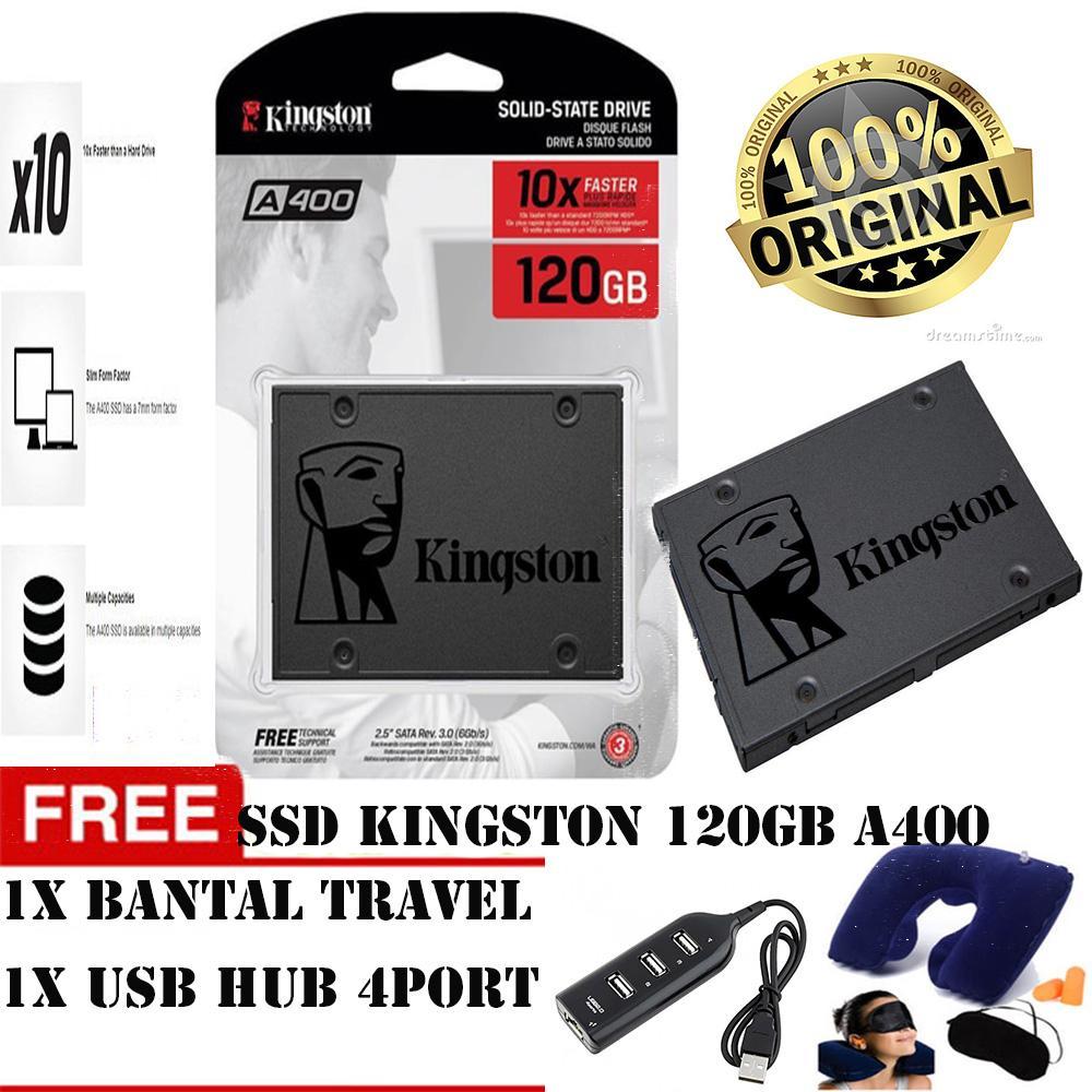 SSD KINGSTON 120GB A400 100% ORIGINAL free  bantal travel+usb hub