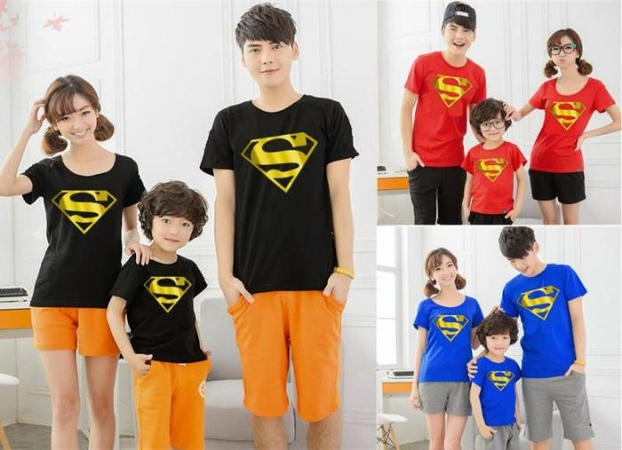JUAL Kaos Keluarga Family Couple Superman Gold Foil (Hitam-Merah-Biru)