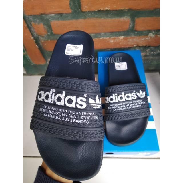 Sandal Adidas Adilette Original Sendal Adidas Adilette Stripes BNIB Italy Navy 9