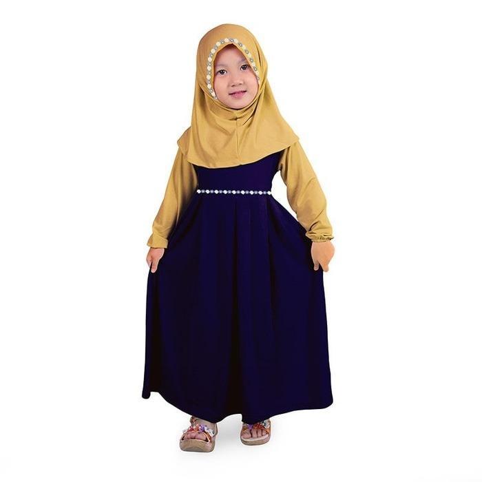 Baju Muslim Gamis Anak Perempuan Warna Navy Cream Lucu Simple