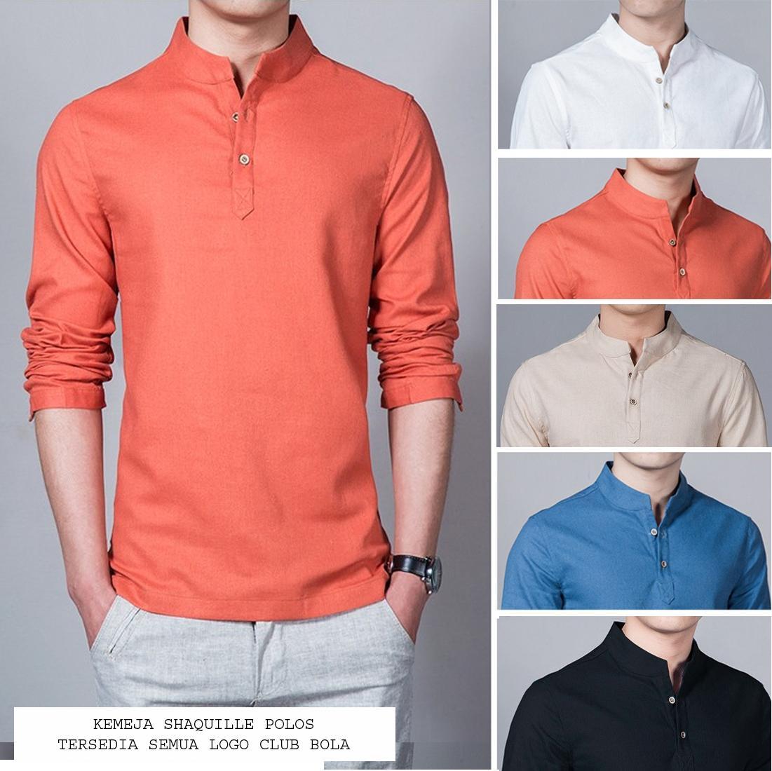 Kemeja Pria Baju Koko Shaquile Orange Polos | Tersedia 5 Warna | Grosir Kemeja Muslim Gamis Pria Murah Distro