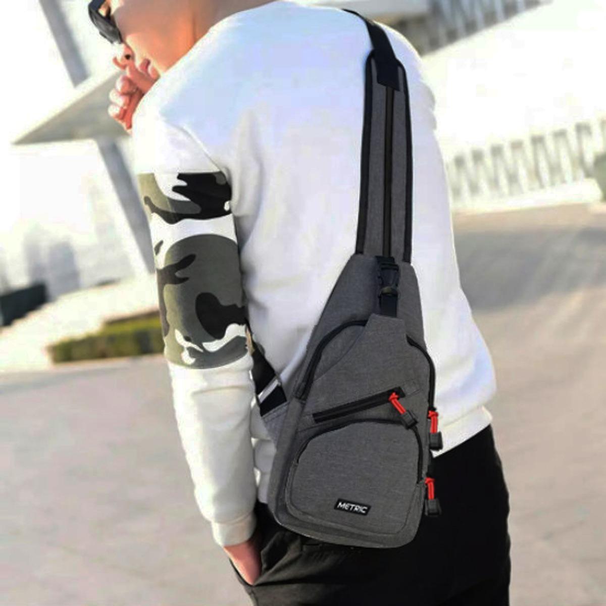 Metric Sling Bag Korea Tas Ransel Tali Satu Tas Waistbag Tas Selempang Tas Gadget Tas Smartphone Kode Artikel Mi004 Street Style Korean Design - Dark Grey