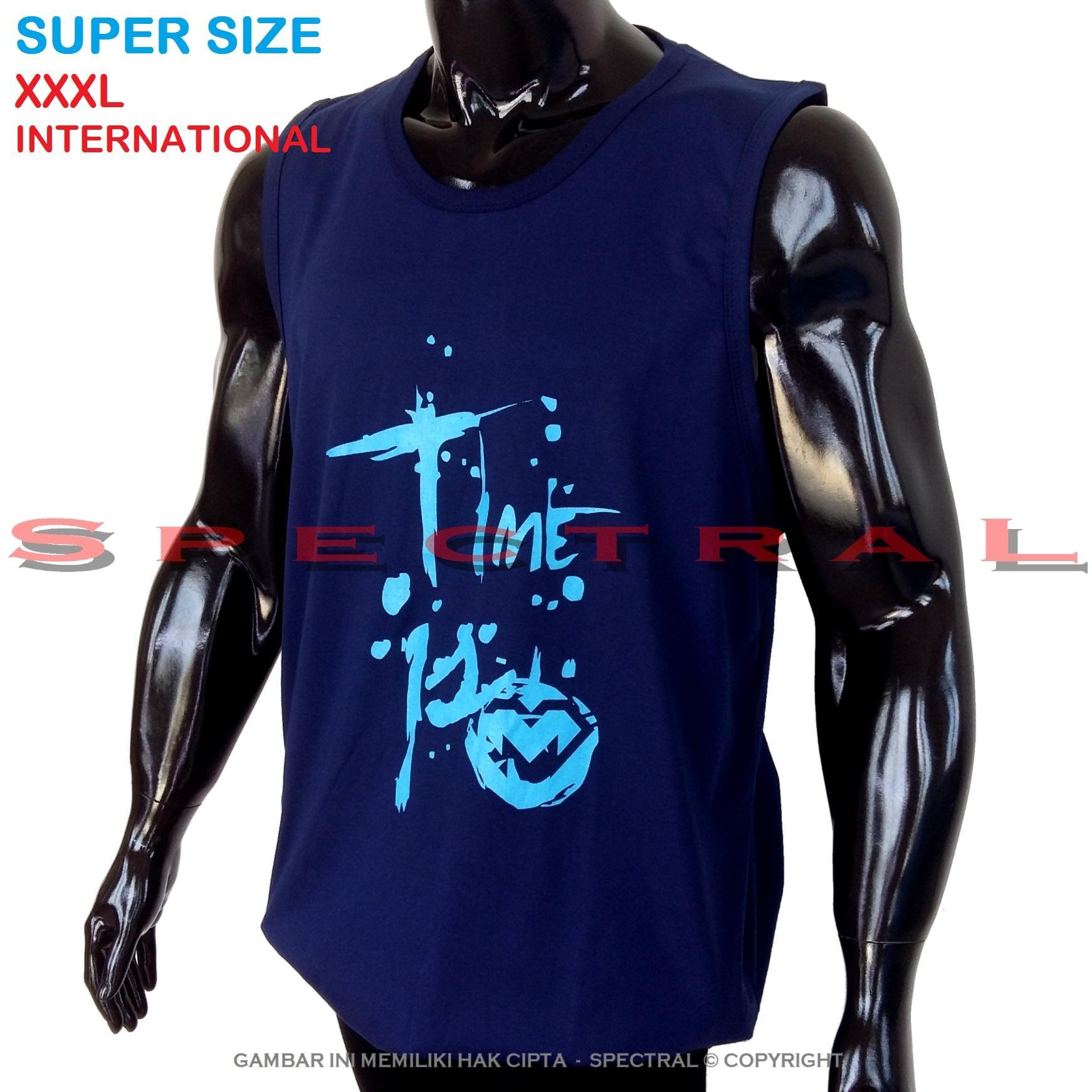 Spectral – 3XL SINGLET SUPER BIG SIZE XXXL 100{55e037da9a70d2f692182bf73e9ad7c46940d20c7297ef2687c837f7bdb7b002} Cotton Combed Kaos Distro Jumbo T-Shirt Fashion Ukuran Besar Polos Celana Olahraga Atasan Pria Wanita Dewasa Bapak Orang Tua Muda Terbaru Gemuk Gendut Sport Bagus Keren Baju Cowo Cewe Pakaian 3L TIME