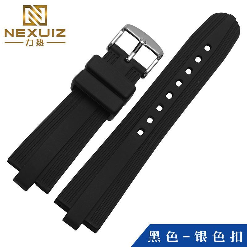 Nexuiz Silikon tali jam tangan pengganti Bvlgari hitam Gesper pin model cembung mulut Lakban pria karet 22*7mm suku cadang