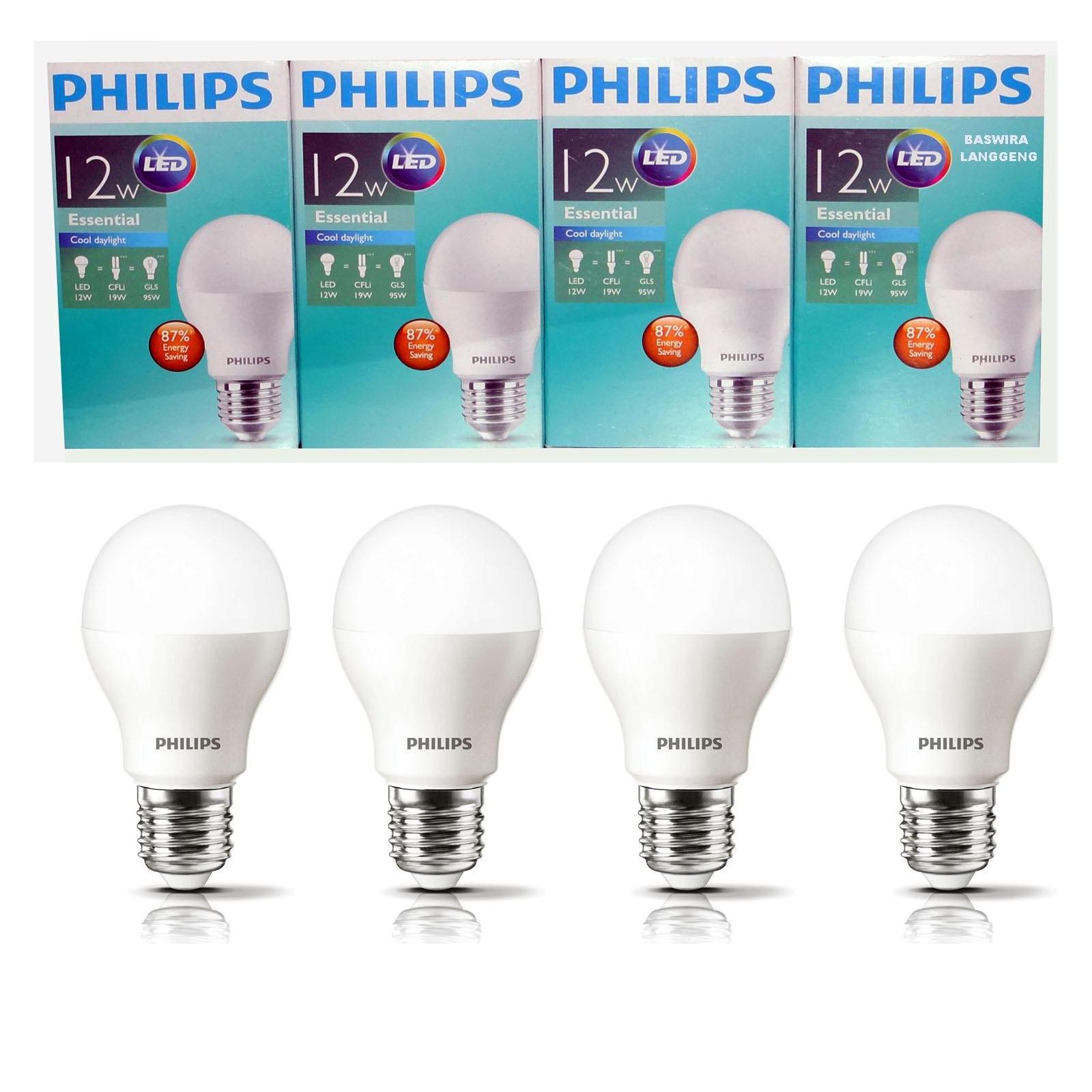 PHILIPS Lampu Led Bulb Essential 12W 12WAtt 12 W 12 Wat Paket (4 Pcs) PUTIH