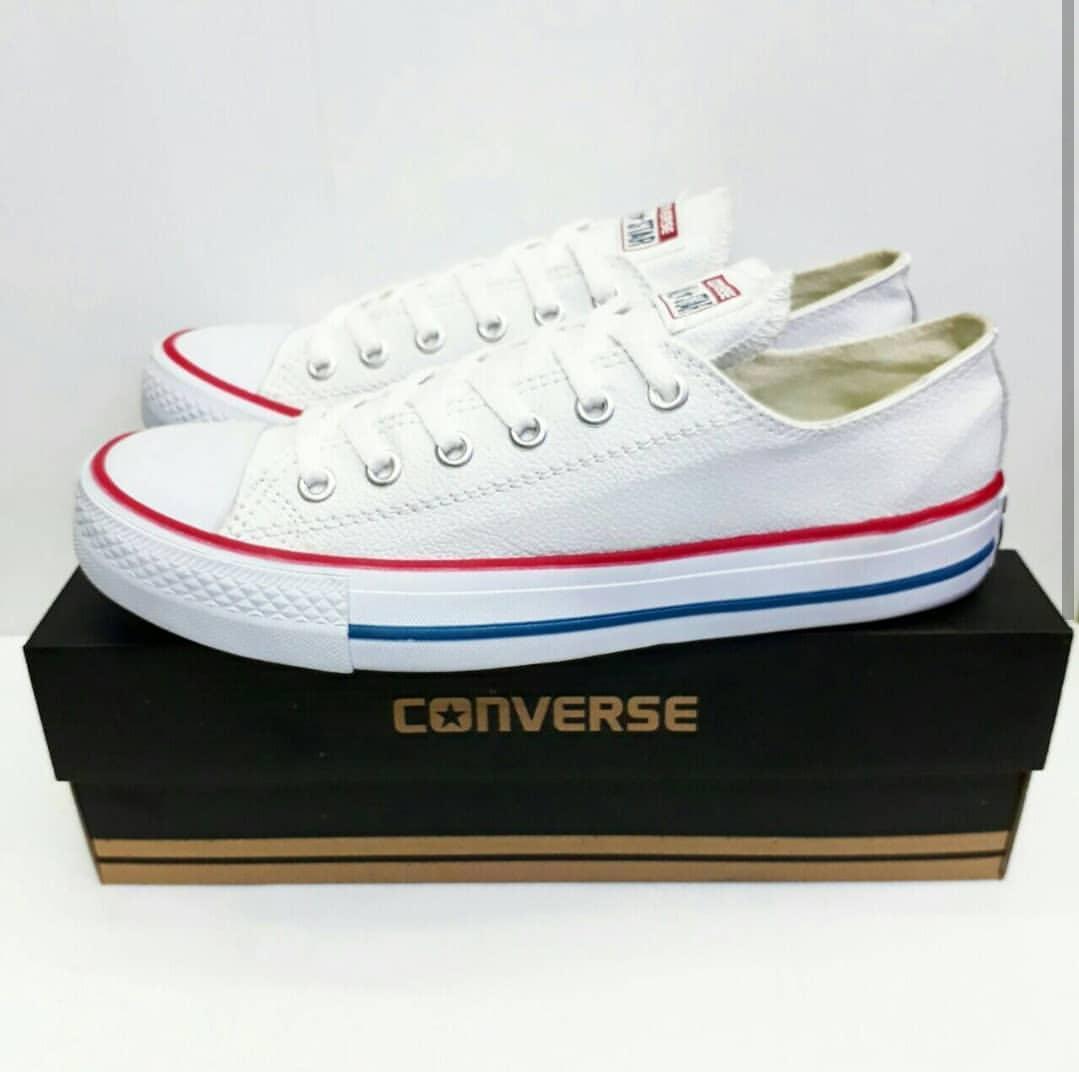 Sepatu casual converse all star putih list merah-sepatu sekolah-sepatu  sneakers 44ffa2552e
