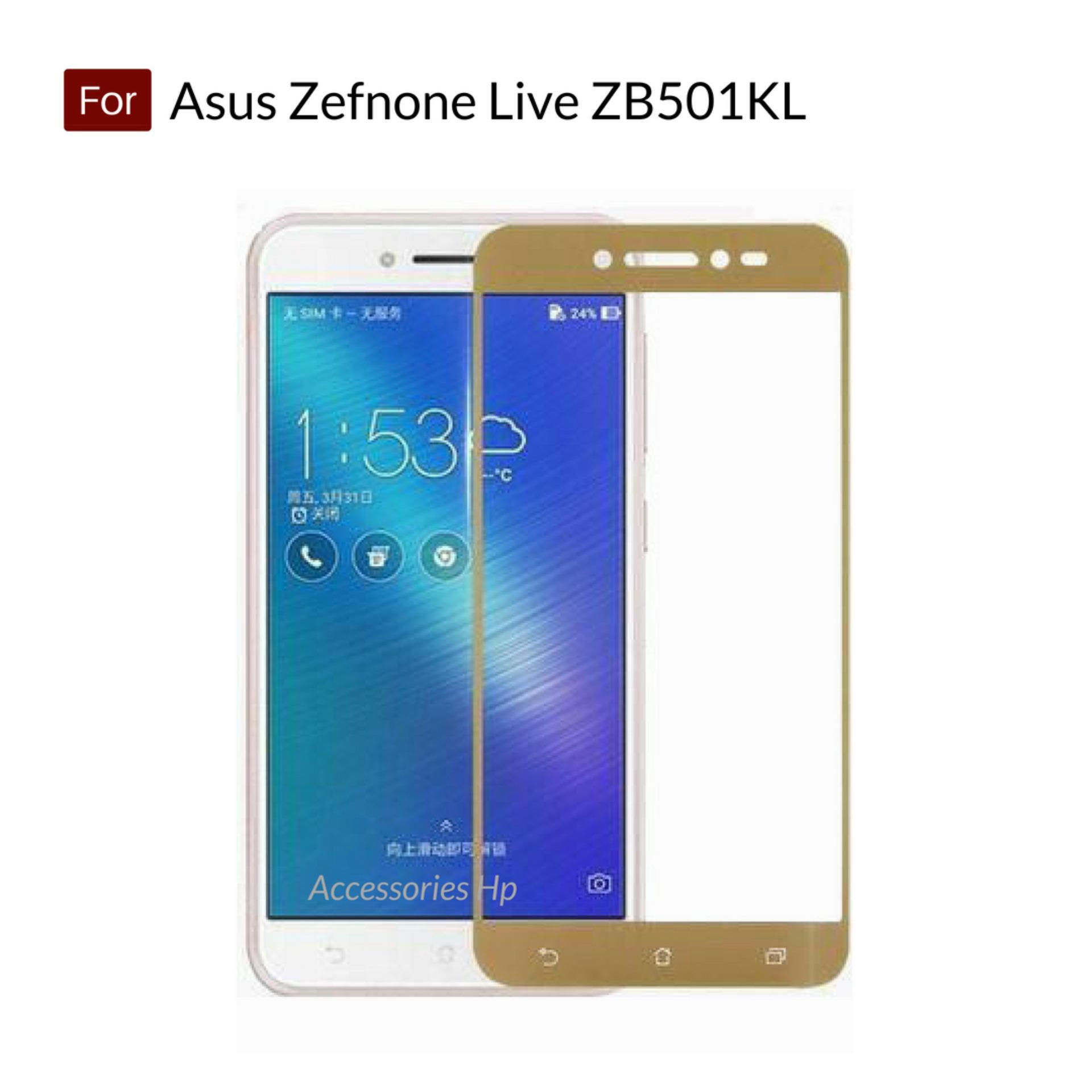 Accessories Hp Full Cover Tempered Glass Warna Screen Protector for Asus Zenfone Live ZB501KL - Gol