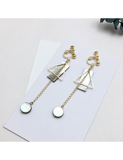 LRC Anting Jepit Fashion Gold Color Geometric Shape Decorated Earrings