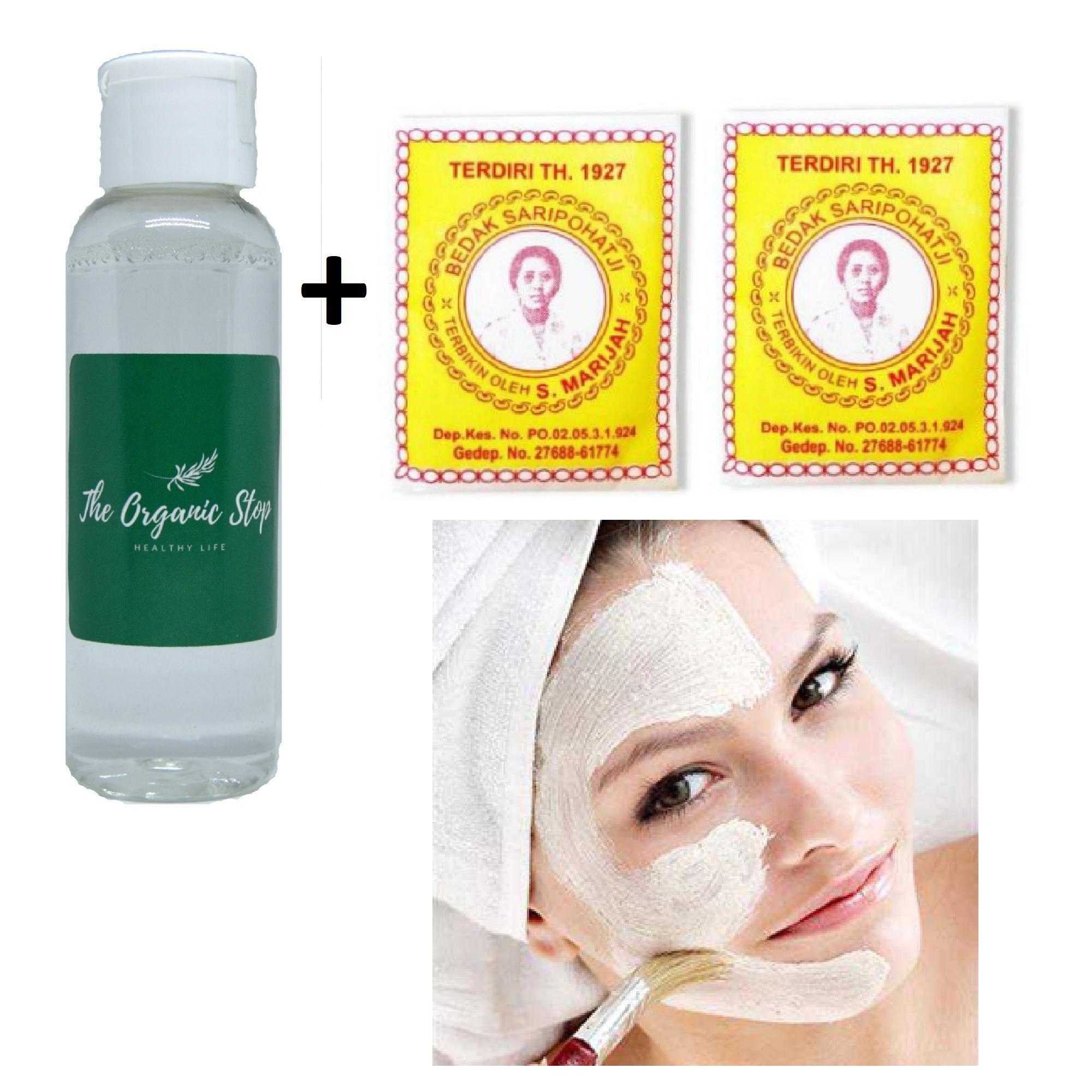 TheOrganicStop Paket 2 Bedak Dingin Saripohatji + 1 Rose Water Air Mawar Murni Hydrosol 50 ml