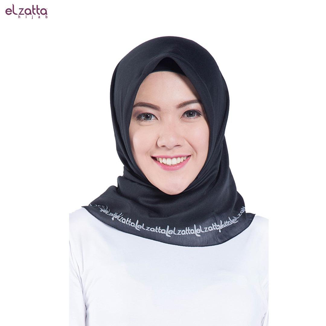 Hijab Jilbab Segi Empat Scarf Elzataa Warna Hitam E006