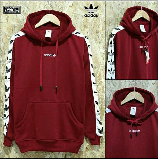 Jaket Sweater Pullover Hoodie Adidas TNT Tape - Maroon