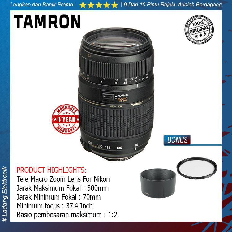 Tamron For Nikon AF 70-300mm f/4-5.6 Di LD Tele-Macro (1:2) Free Lens Hood + Uv Filter