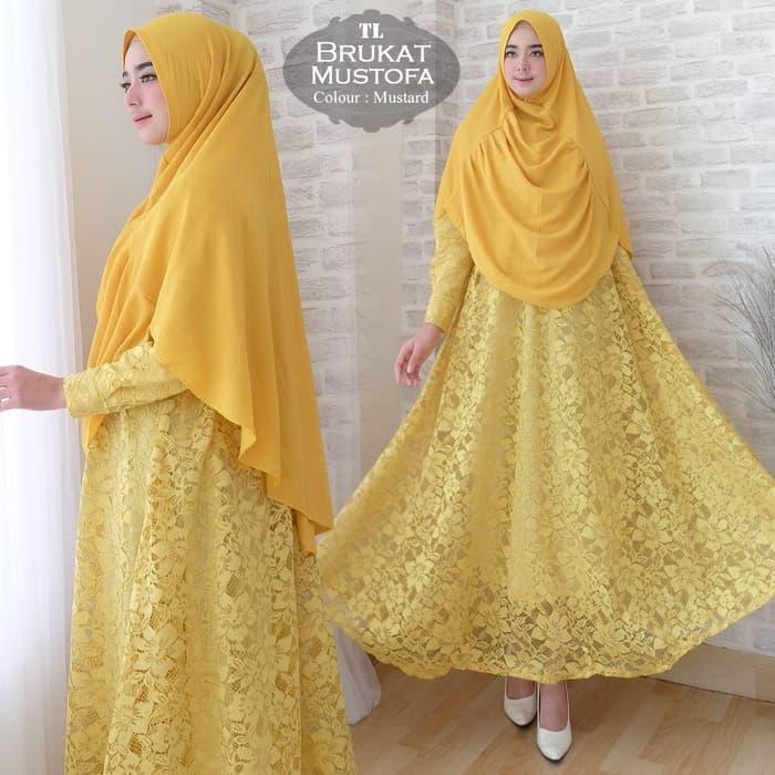 [Syari Brukat Mustofa Mustard TL] gamis muslim wanita brukat kuning NRP