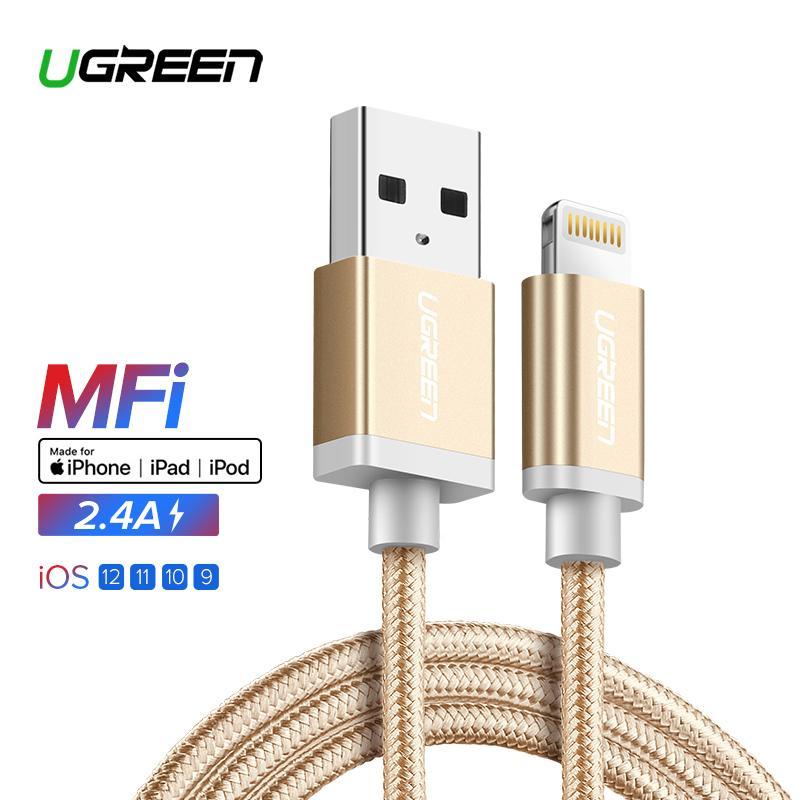 UGREEN Original 1.5Meter Kabel Apple Lightning MFI Cable Fast Charging Kabel for Apple iPhone 5s iPhone 6s iPhone 7s iPhone 8 iPod iPad Data Kabel Gold