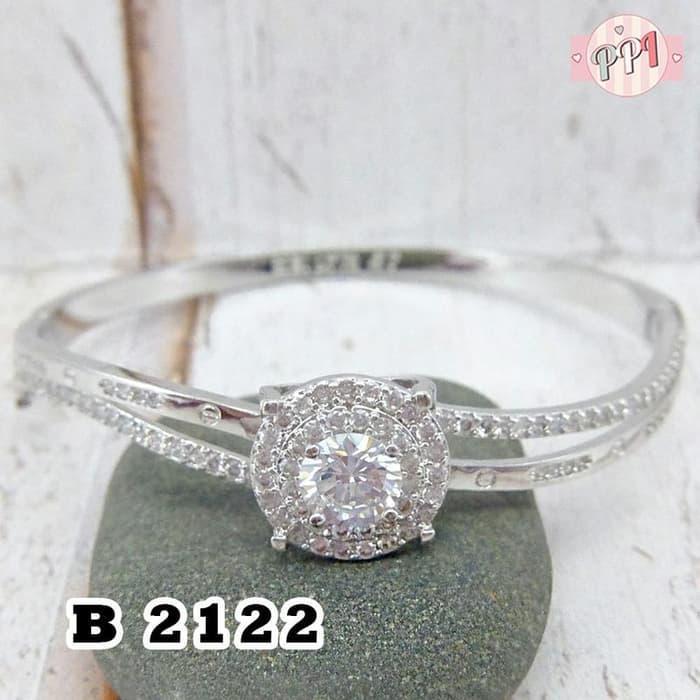 Gelang Cartier Mewah Silver Permata B 2122 d = 5,7cm