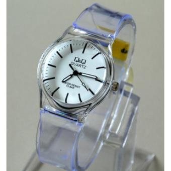 Pencari Harga QQ - jam tangan wanita casual dan sporty QQ Transparan - rubber strap - water resist terbaik murah - Hanya Rp17.689