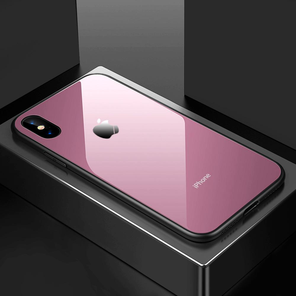 Tempered Glass Case Iphone X / 10 Premium Soft Hard Casing Kaca - PINK