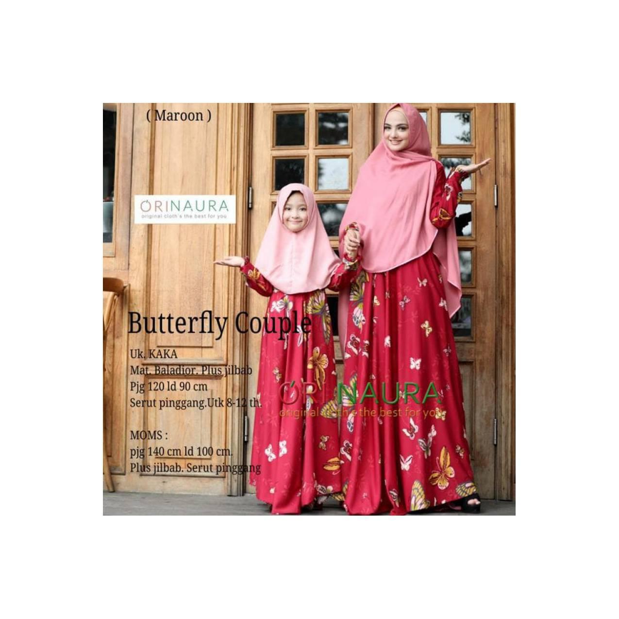 Syari Setelan Gamis Syari Couple Ibu Anak Baju Muslim Modern Butterfly