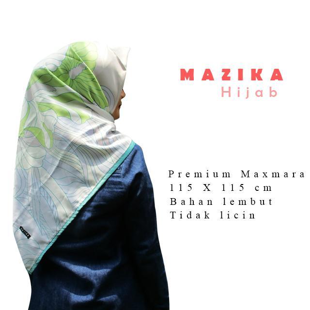 WarungSiBoss Hijab Segi Empat / Hijab Motif / Jilbab Segi Empat / Jilbab Motif / Kerudung Segi Empat / Kerudung Motif Maxmara Print Vaya Square - Teal by Mazika Hijab