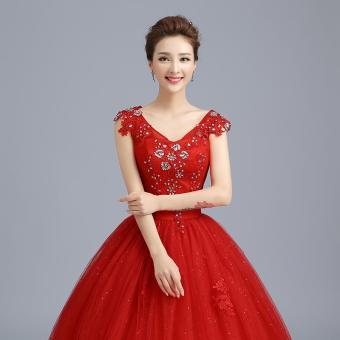 Bandingkan Toko Gaun resepsi gaun pengantin 2016 model baru warna merah model bahu terbuka gaun panjang sampai lantai Gaya Korea membentuk tubuh stagen Gaun ...