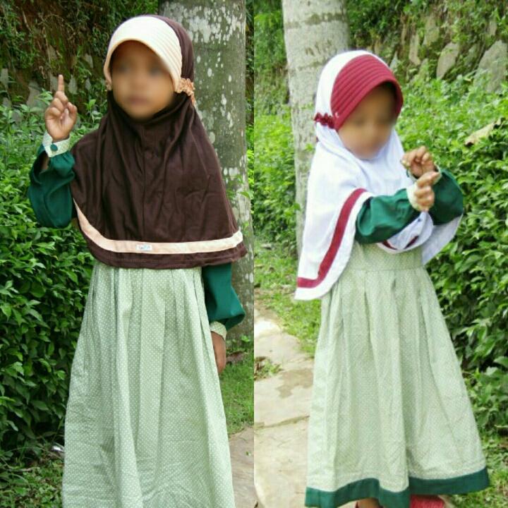 Jilbab Anak Seragam Sekolah SD Naura M 2 Pcs ( Putih, Coklat )