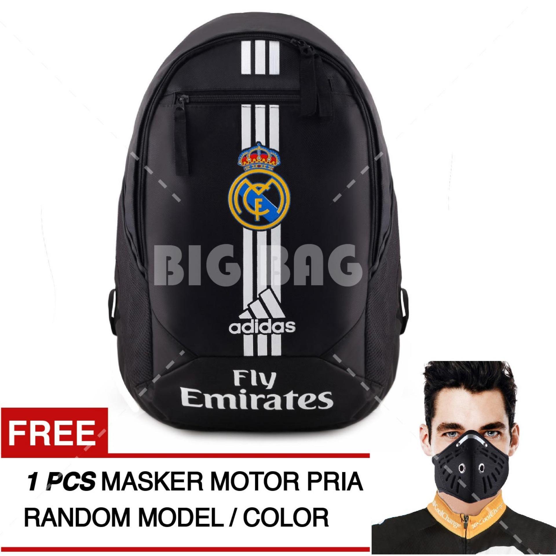 Tas Ransel Adidas Bola Pria Real Madrid C.F Laptop Backpack Men Soccer Editions - Black + Raincover + FREE Masker Motor Pria