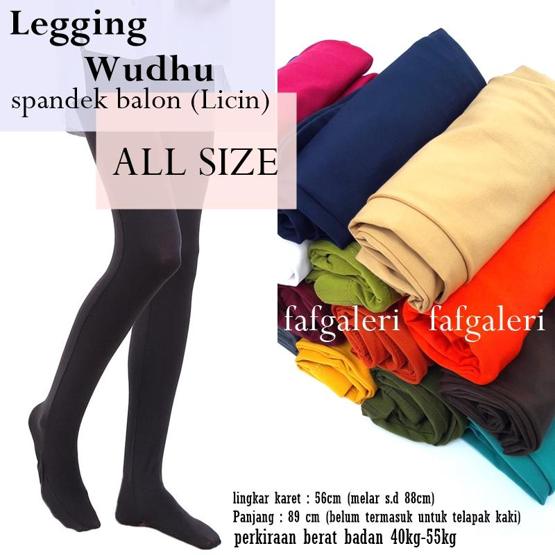 Legging Wudhu All Size Bahan Spandek Balon Licin - Celana Busana Muslim Wanita Dalaman Gamis