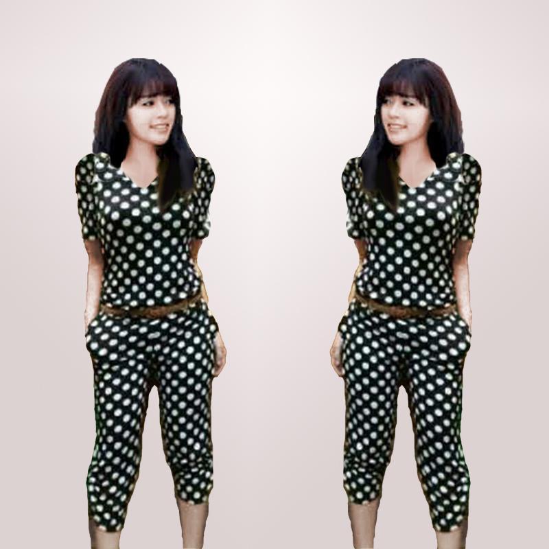Kyoko Fashion Setelan Onde Enma Polka Dots / Setelan Wanita / Baju Casual / Baju Kasual / T-Shirt Wanita / Kaos Wanita / Jumpsuit