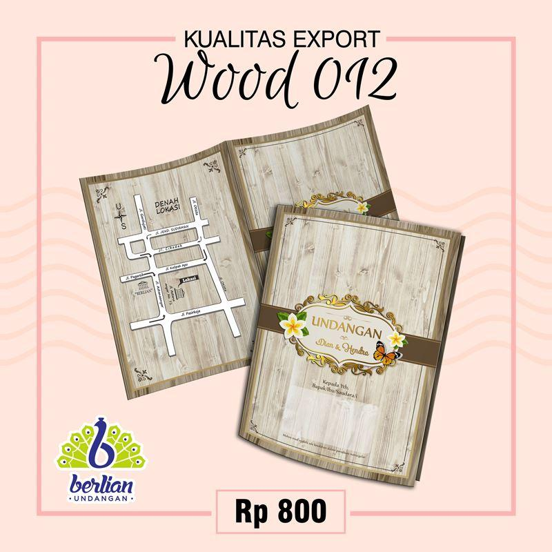 Blangko Kartu Undangan Pernikahan Murah Series WOOD 012 Foil