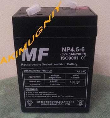 Promo aki accu baterai kering vrla mf 6v 4.5ah / 4.5ah 6v mainan Original