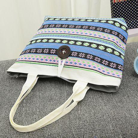 Universal Tas Fashion Wanita Tote Bag Canvas - Motif Abstract - Biru